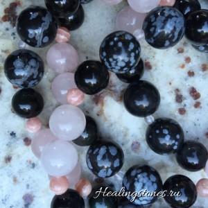 бралсет розовый кварц, обсидиан, родохрозит для практики прощения