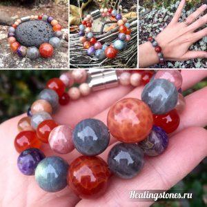 браслет чароит, лабрадор, сердолик, розовый кварц, родохрозит, лунный камень