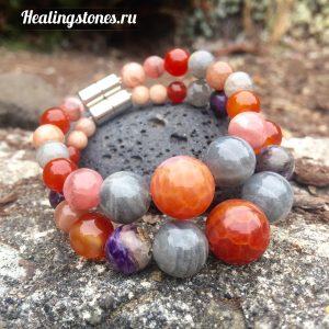 браслет лабрадор, чароит, сердолик, родохрозит, лунный камень